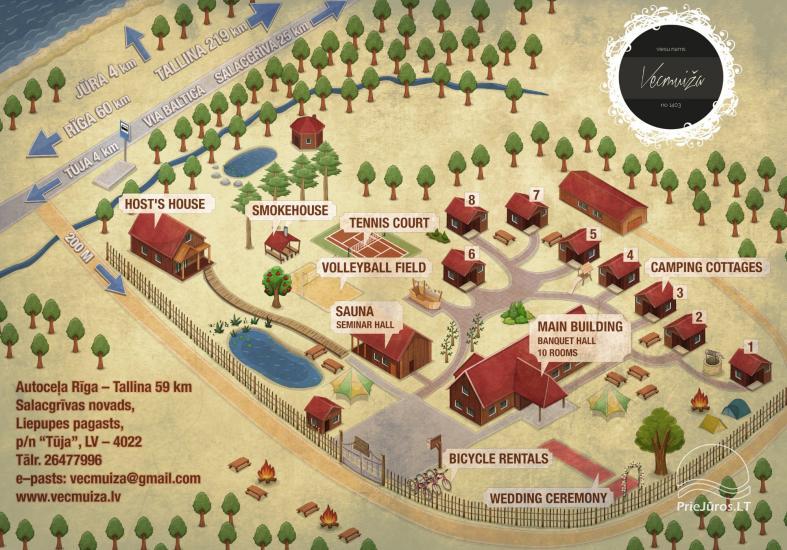 Svečių namai Vecmuiža Latvijoje: nameliai, kambariai, pirtys, kubilas - 23